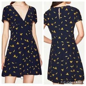 Zara TRF Polka Dot Banana Print Fit & Flare Dress